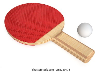 ping pong paddle and ball isolated on white background