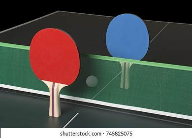 Ping Pong Paddles on Ping Pong Table, standing upright with net in between