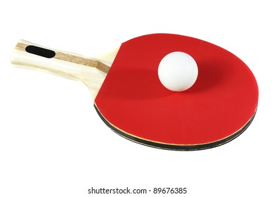 Ping pong racket and ball on  white background