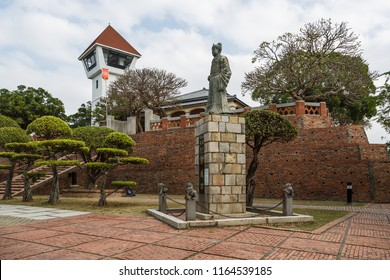"""An Ping, Tainan, Taiwan - December 29 2015: Statue of military leader Koxinga in the former Dutch fortification """"Fort Zeelandia""""."""
