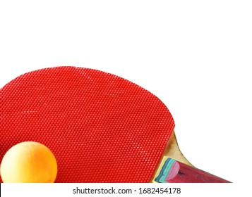 pingpong racket and ball on white background with clipping path