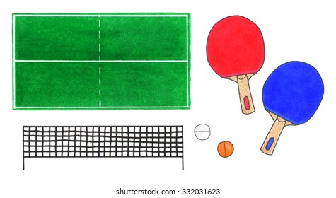 Ping-pong set. Hand-drawn green tennis table top view, rackets, web and balls on the white background. Real watercolor drawing