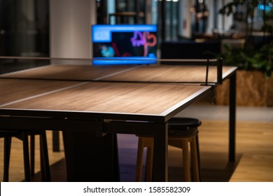 Pingpong table in a co-working office space
