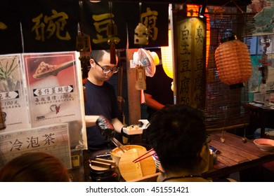 Pingtung City, Taiwan - July 4, 2016: A famous tofu stall in Pingtung city.