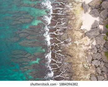 Pingtung County, Taiwan - Dec 24 2020: Aerial view of the secret Driftwood Beach near Sunrise Pavilion. Xiaoliuqiu Lamay Island.