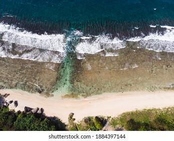 Pingtung County, Taiwan - Dec 24 2020: Aerial view of Haban Beach at Xiaoliuqiu (Lambai Island, Lamay Island)