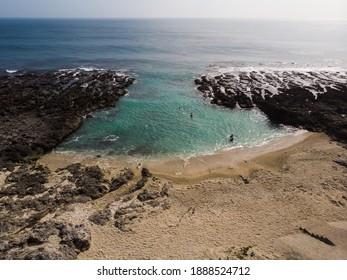 Pingtung County, Taiwan Dec 24, 2020: Aerial view of Houshi Shore. Xiaoliuqiu Lamay Island.