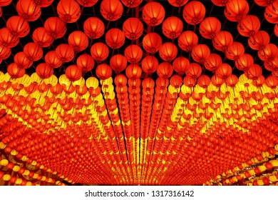 """Pingtung County,Taiwan - Feb 17th : The """"2019 Taiwan Lantern Festival"""" was open on February 19, 2019 in Donggang Village, Pingtung County in the Dapeng Bay National Scenic Area.lantern temple"""