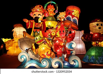 """Pingtung County,Taiwan - Feb 17th : The """"2019 Taiwan Lantern Festival"""" in Donggang Village in the Dapeng Bay . lantern competition  God of Wealth"""