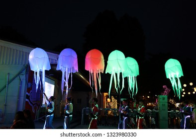 """Pingtung County,Taiwan - Feb 17th : The """"2019 Taiwan Lantern Festival"""" Jellyfish at Winning Lantern Zone ,Victory Star , in Pingtung"""