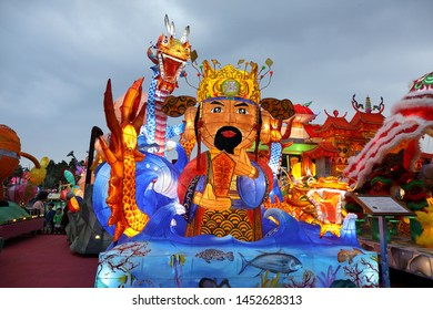 "Pingtung County,Taiwan - Feb 17th : The ""2019 Taiwan Lantern Festival"" in Donggang Village in the Dapeng Bay . lantern competition God of Wealth"
