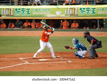 PINGTUNG, TAIWAN, APRIL 8: Batter Pan Wuxiong of the President Lions prepares to strike in a Pro Baseball game against the Lamigo Monkeys. The Lions won 2:0 on April 8, 2012 in Pingtung.