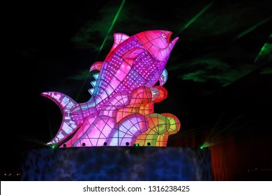 """Pingtung ,Taiwan - Feb 17th : The """"2019 Taiwan Lantern Festival"""" was open on February 19, 2019 in Donggang Village, Pingtung County in the Dapeng Bay National Scenic Area.""""Giant Tuna Bringing Wealth"""""""