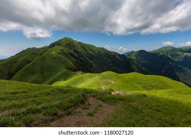 Pingxiang Wugong Mountain Scenery in Jiangxi Province, China. Lush green alpine grassland, high altitude alpine meadow. Exotic Mountains of China, Wugongshan National Park of China. Hiking, Camping