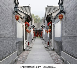 PINGYAO, CHINA - FEBRUARY 2: view of decorated street during Spring Festival on February 2, 2013 in Pingyao, China. Streets are decorated with red lanterns to bring good luck for the New Year.