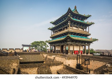 Pingyao, China - July 12th. 2016 - The ancient city of Pingyao in a blue sky day in central China, Asia.