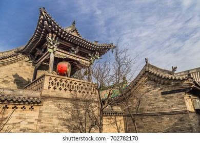 PINGYAO, CHINA - NOVEMBER 19, 2017: Morning view of ancient City of Ping Yao (UNESCO World Heritage site). A famous historic site in Pingyao, Shanxi, China.