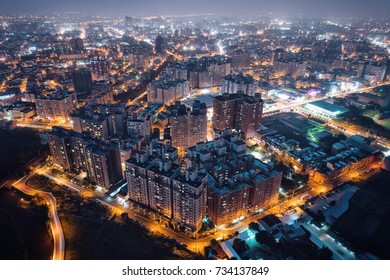 Pingzhen, Taoyuan Aerial Photography at Night - Panoramic modern cityscape building birds eye view use the drone, Asia city concept image, shot in Pingzhen District, Taoyuan, Taiwan.