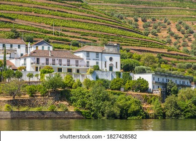 Pinhao, Portugal - 08 August 2020: Royal Oporto winery building on the banks of the River Douro in Portugal near Pinhao