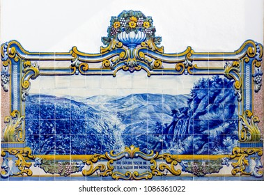 PINHAO, PORTUGAL - FEBRUARY 26, 2017: Azulejos at Railway station of Pinhao, Douro Valley, in Portugal