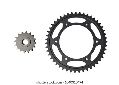 pinion and ring gear for chain motorcycle isolated on white