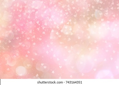 pink abstract backdrop with hearts, bokeh and falling snow effect.