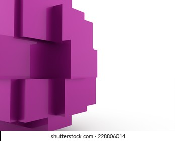 Pink abstract cubes background rendered