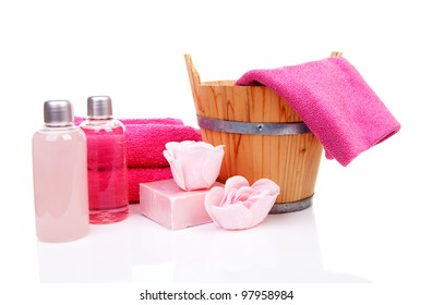 pink accessory for spa or sauna over white background