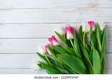 af28781a37799 Bunch Pink Tulips On Old Wooden Stock Photo (Edit Now) 261847352 ...