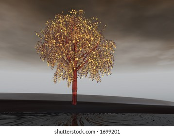 pink aluminium tree with golden leaves