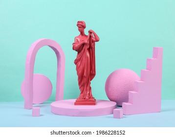 Pink antique goddess statue on the podium with geometric shapas. Concept art. Fashion Minimalism