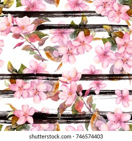 Pink apple flowers at monochrome striped background. Seamless floral pattern. Spring watercolor with black stripes