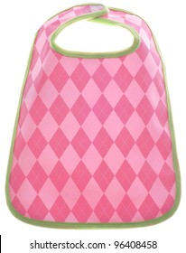 Pink Argyle Baby Girl Bib Isolated on White with a Clipping Path.
