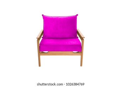 Pink armchair. Modern designer chair on white background. Texture chair.