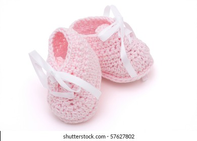 0fe74de0a817 Pink Baby booties isolated on a white background