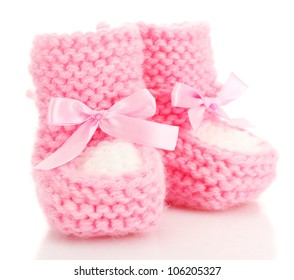 pink baby boots isolated on white