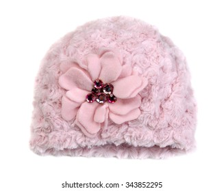 8832914eab4 Pink baby hat with rhinestones. Isolate on white.