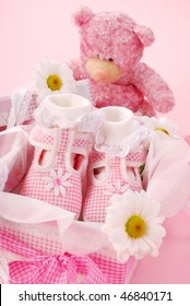 pink baby shoes for little girl in gift box