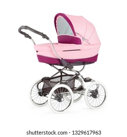 Pink Baby Stroller Isolated on White Background. Infant Carriage Seat. Pram with Showerproof Hood. Side View of Travel System with Carry Cot. Pushchair with Canopy