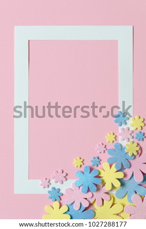 Pink Background Colorful Flowers Frame Text Stock Photo Edit Now
