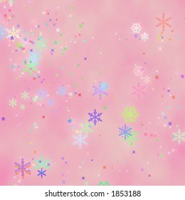 Pink background with fun mystical snowflakes.