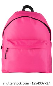 Pink backpack standing isolated on white background. School bag.