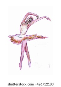 Pink Ballerina art,  ballet dance illustration, painting of a female ballet dancer in pink and white tutu.