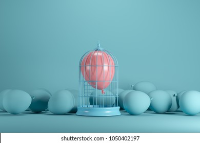 Pink balloon floating in white cage on blue background. minimal idea concept.