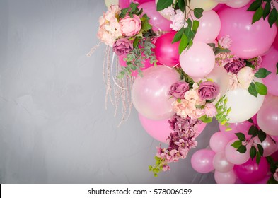 Balloon flower images stock photos vectors shutterstock balloon flower pink balloons decorated with a bouquet of roses on a blue background mightylinksfo