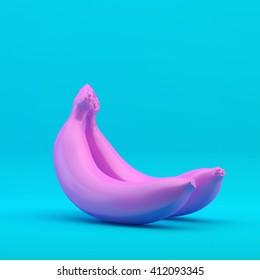 Pink banana on a blue background, 3d illustration