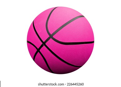 Pink Basketball isolated over a white background with a clipping path