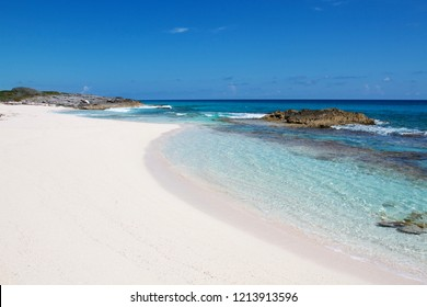 Pink beach in the beautiful exuma island one of the best Caribbean destination for relaxing and enjoy beach life, Bahamas