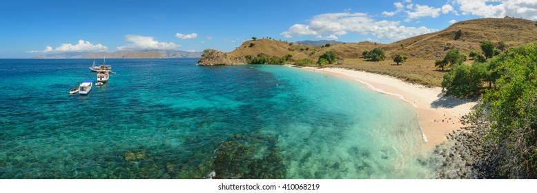 Pink beach on Komodo island in Indonesia