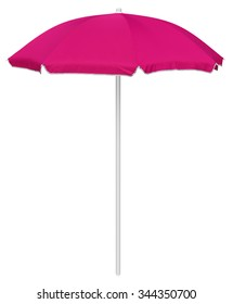 Pink beach umbrella isolated on white. Clipping path included.